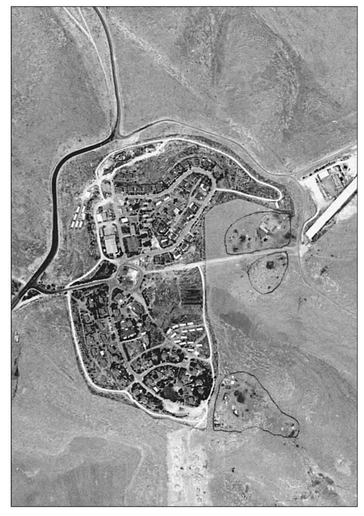 This air photo of settlement  Karmel and Umm Al Khair is taken between sometime in 2000 and  doesn't show the new neighborhood that has since been built in Karmel.